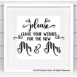 Wedding Venue Decor - Vinyl Sticker, Please leave your wishes for the new Mr/Mrs