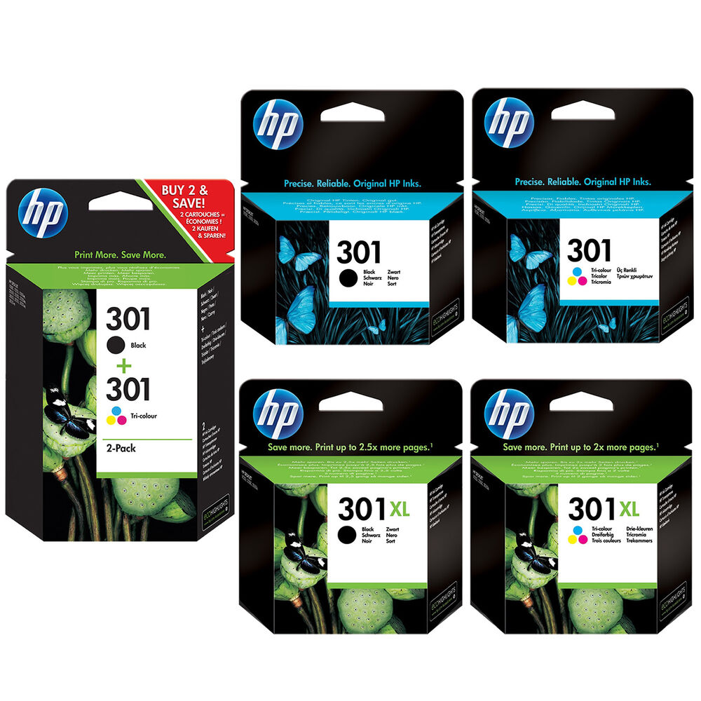 genuine hp 301 combo 301xl black and colour ink cartridges for deskjet 2450 ebay. Black Bedroom Furniture Sets. Home Design Ideas