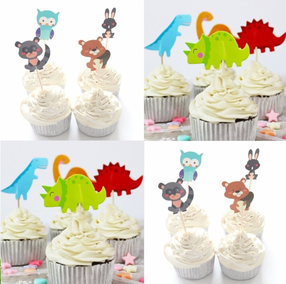 Details About Dinosaur Cupcake Toppers Animal Birthday Cake Owl Rabbit Squirrel