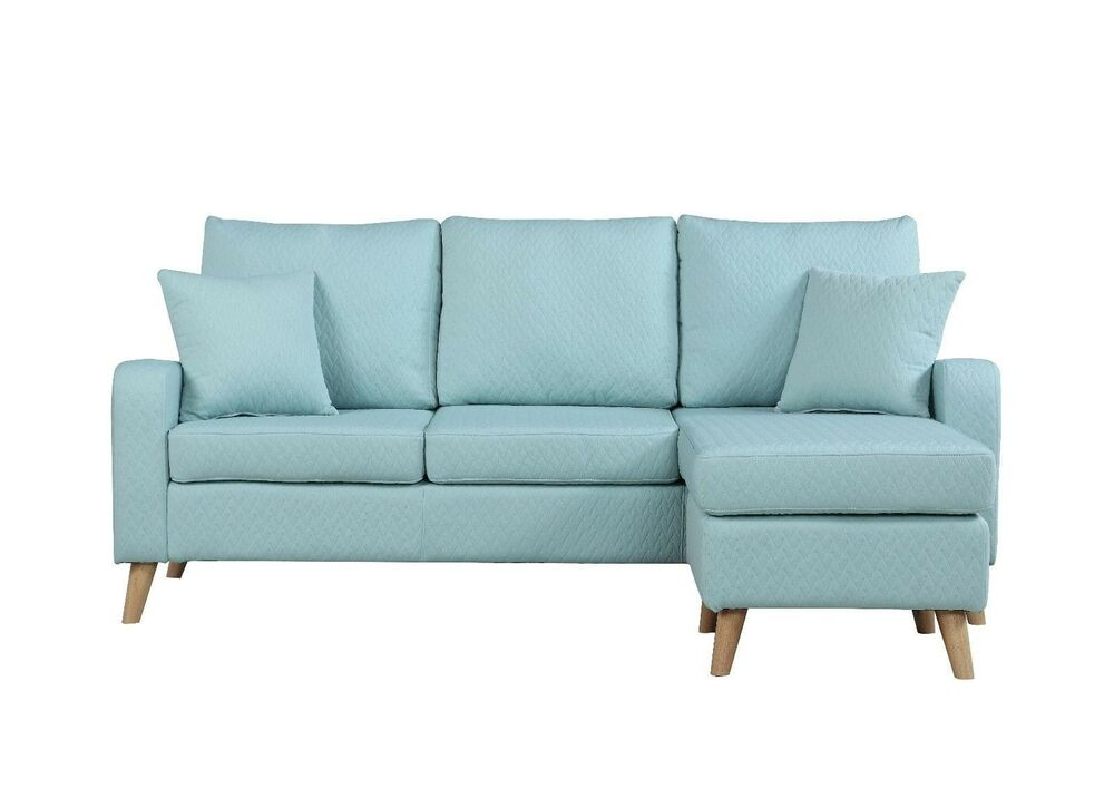 Excellent Modern Furniture Small Space Sectional Sofa Reversible Chaise In Light Blue Ebay Creativecarmelina Interior Chair Design Creativecarmelinacom