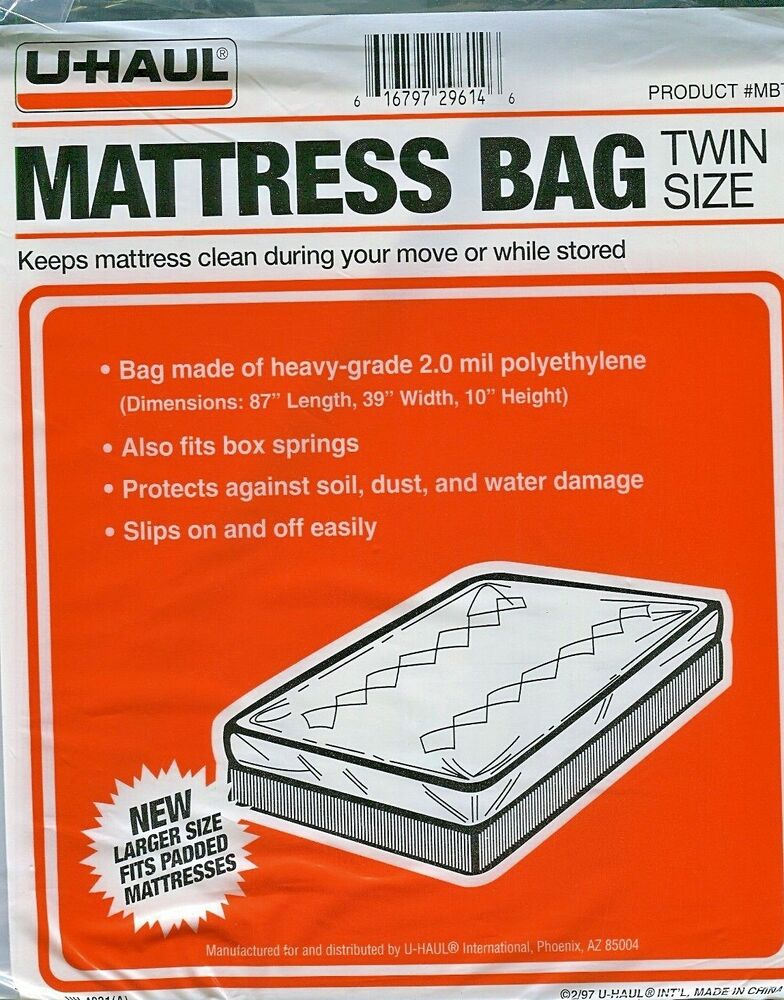 Uhaul Mattress Bag Twin Size 87 L 39 W 10 H Plastic