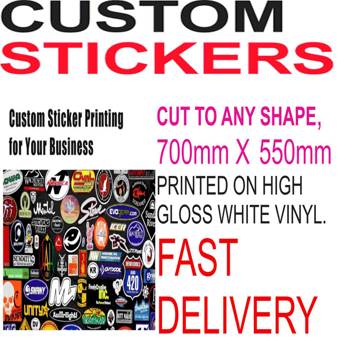Custom print vinyl your design decals labels logo stickers printing bulk sticker 5056162385832 ebay