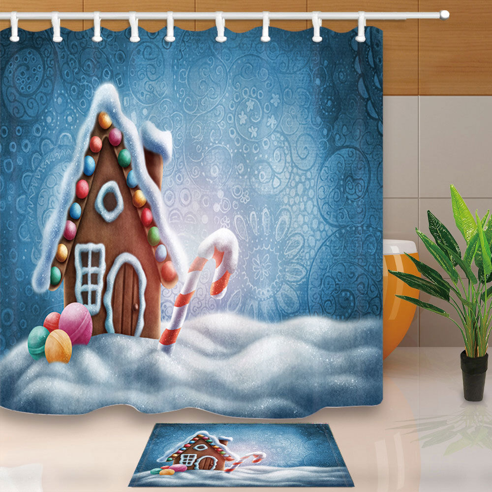 Details About Cartoon Gingerbread House Shower Curtain Bathroom Decor Fabric 12hooks 7171in