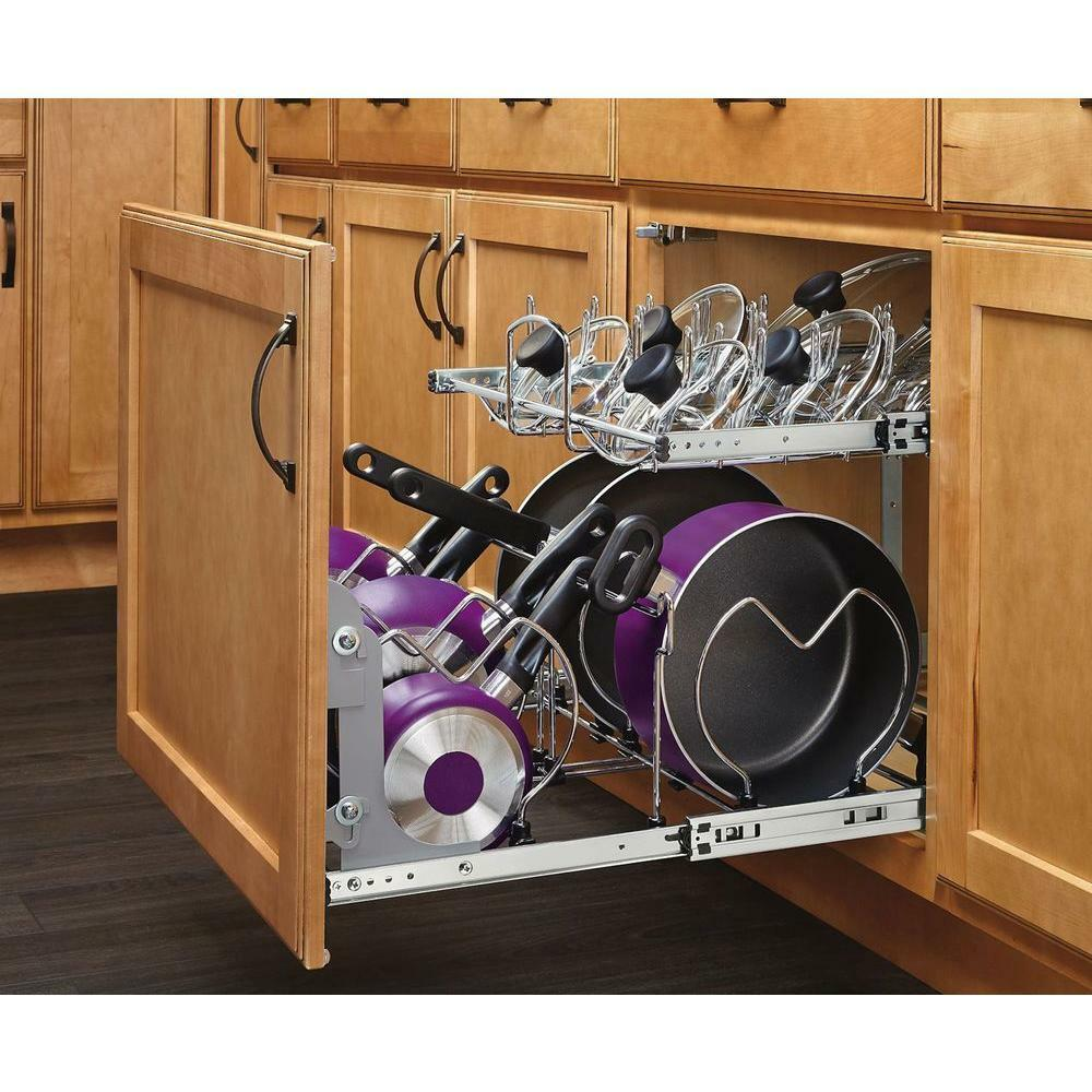 Pull Out Sliding Metal Kitchen Pot Cabinet Storage: Pot Rack Pan Organizer Pull Out 2-Tier Metal Under Cabinet