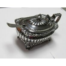 Heavy Ornate English Sterling Silver Footed Mustard Pot Ruby Glass Insert 1899