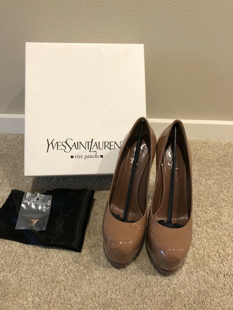 30a5d436377 YSL Yves Saint Laurent Tribtoo 105 Patent Leather Pumps Heels Nude 38.5   795