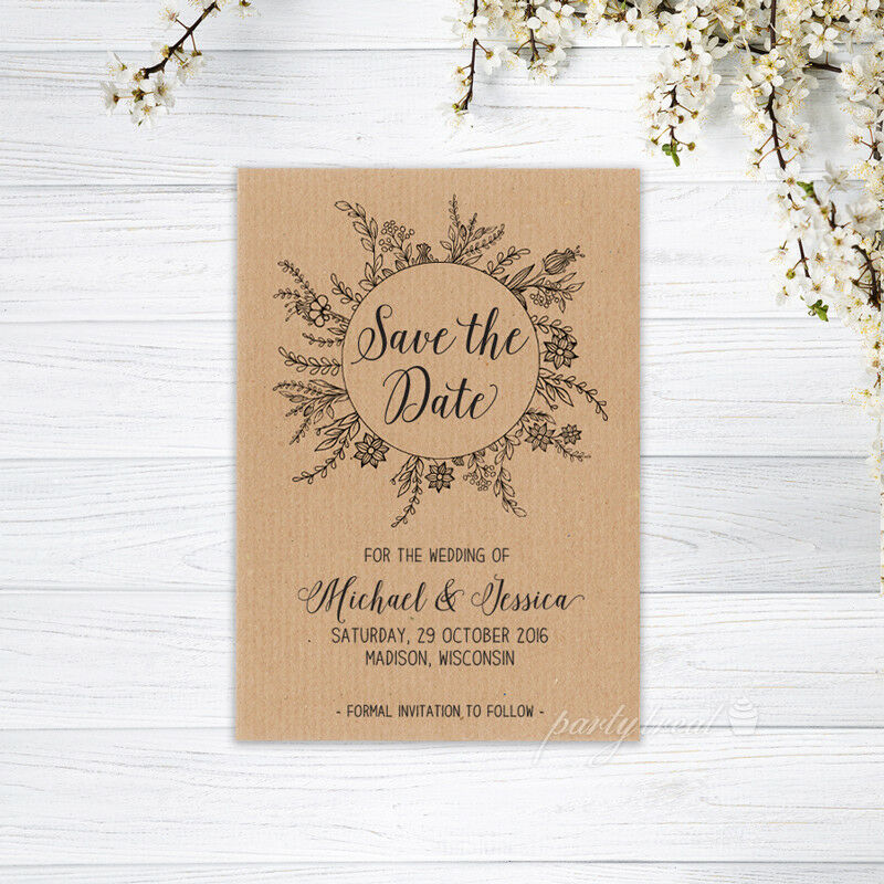 Recycled Paper Wedding Invitations: SAVE THE DATE CARDS PERSONALISED INVITATION MAGNET WEDDING