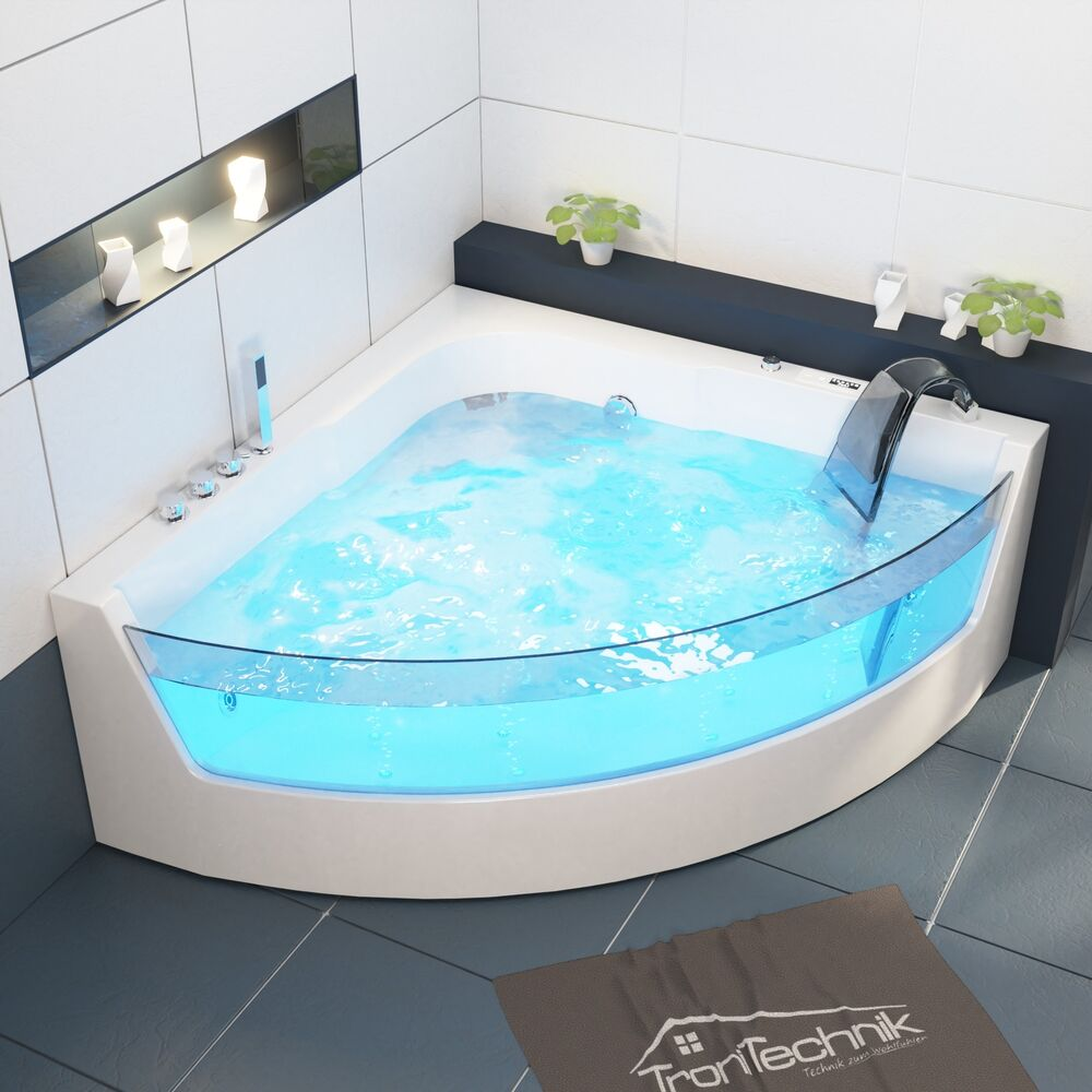 tronitechnik whirlpool badewanne 2 personen wanne eckwhirlpool eckwanne led neu ebay. Black Bedroom Furniture Sets. Home Design Ideas