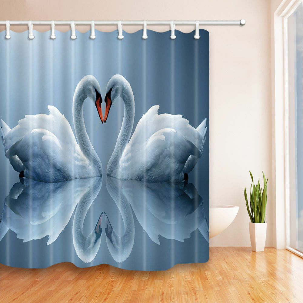 Details About White Swan Couple Shower Curtain Bathroom Polyester Decor 12hooks 7171inches