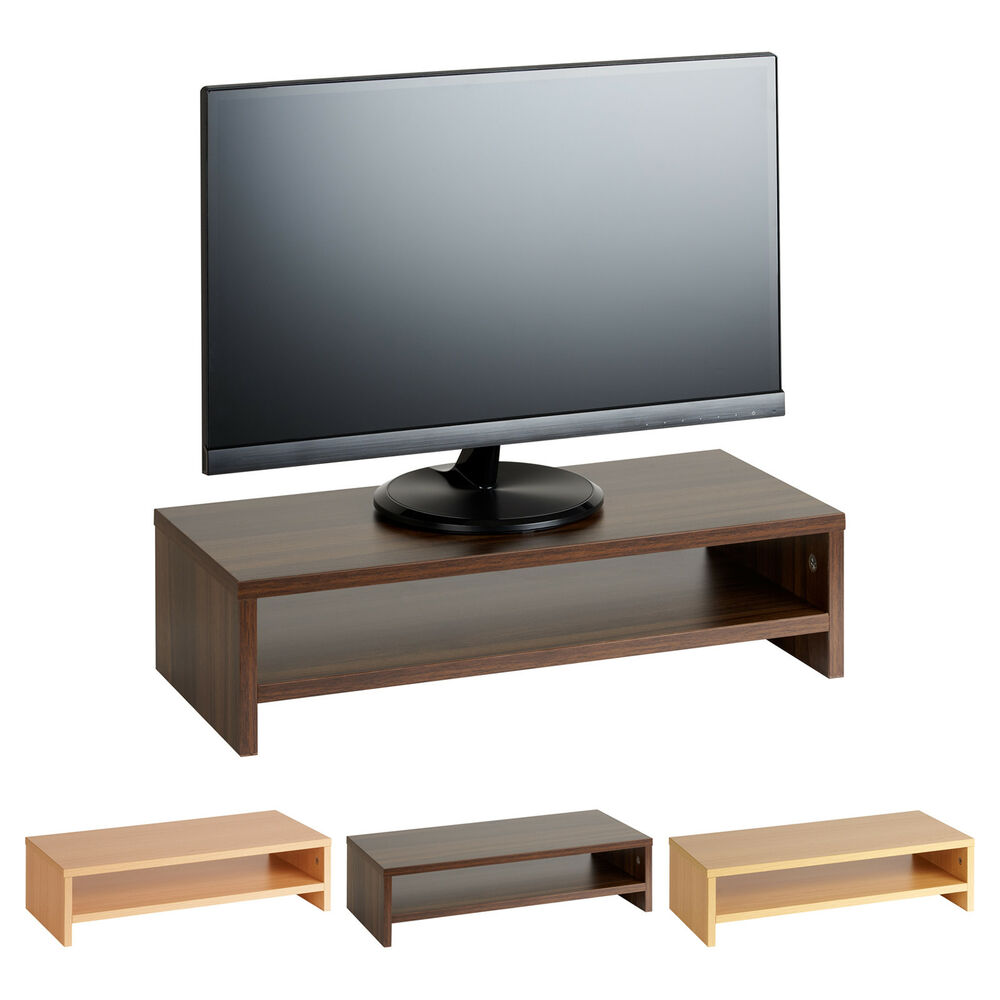 Hartleys wood monitor riser stand tv screen pc computer
