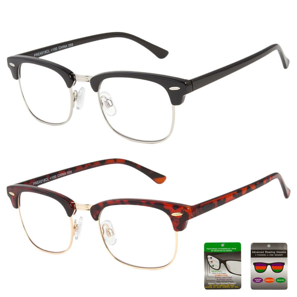 0af9b1cee0 Details about Reading glasses NO Line progressive clear lens metal half  rimless New bifocal