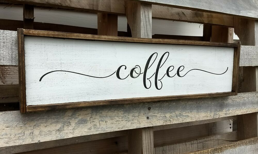 farmhouse wood sign coffee kitchen rustic wooden welcome