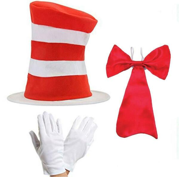 RED & WHITE STRIPED HAT GLOVES TIE FANCY DRESS CRAZY CHARACTER COSTUME KIDS WORL