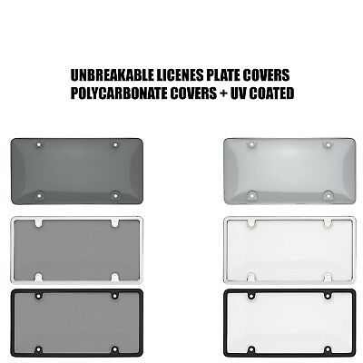 Smoked Clear License Plate Cover Frame Shield Tinted Bubbled Flat Car