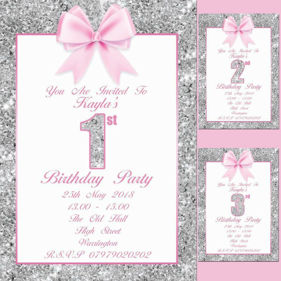 Details About PERSONALISED BIRTHDAY PARTY INVITATIONS INVITES CHILDRENS GIRLS 1ST 2ND 3RD 4TH