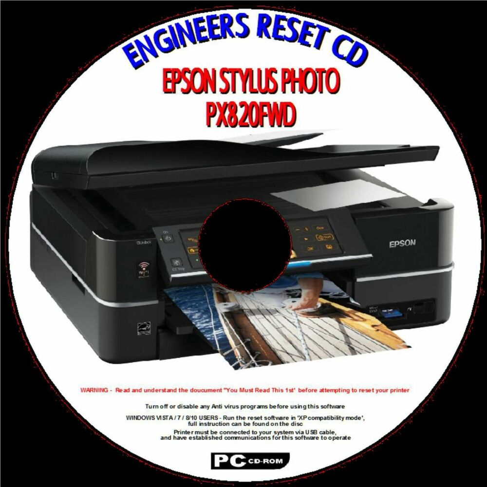 EPSON PX820FWD TX820FWD PRINTER WASTE INK PAD FULL ERROR FIX ENGINEERS  RESET CD | eBay