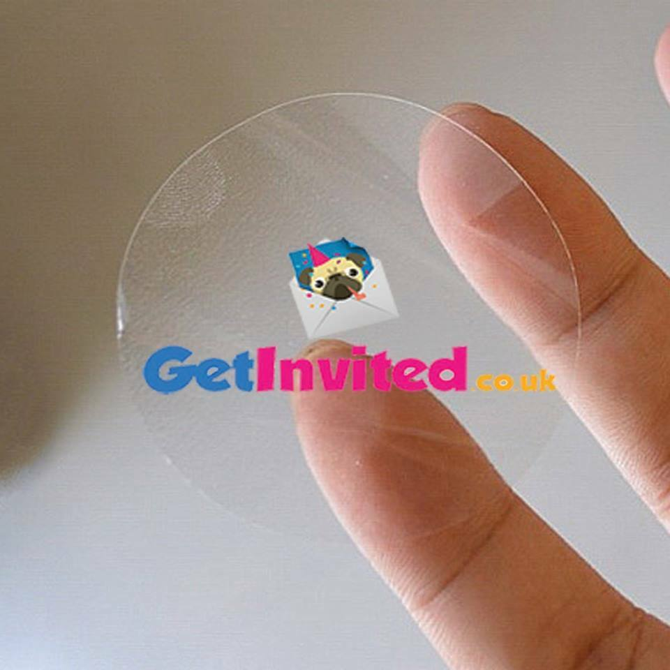 Details about personalised clear stickers gloss transparent round circle logo labels 25mm