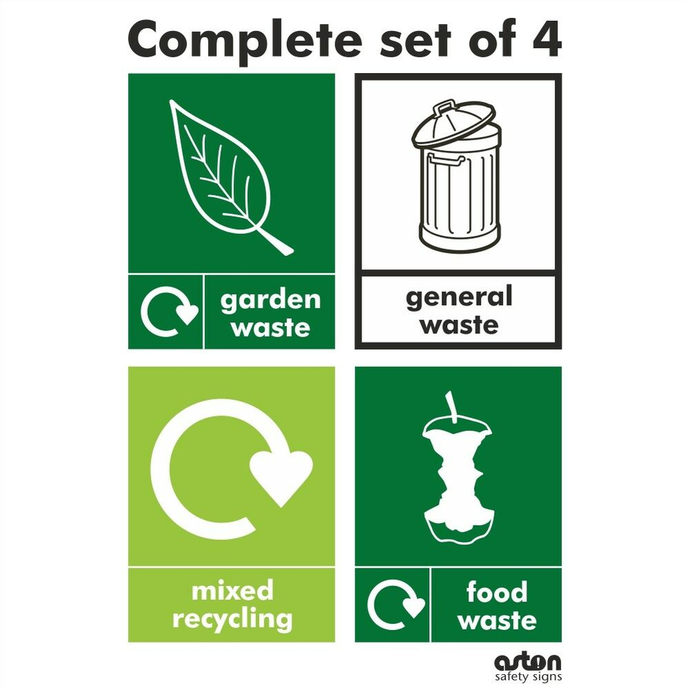 Complete Set Of 4 Wrap Recycling Stickers For Your Bins