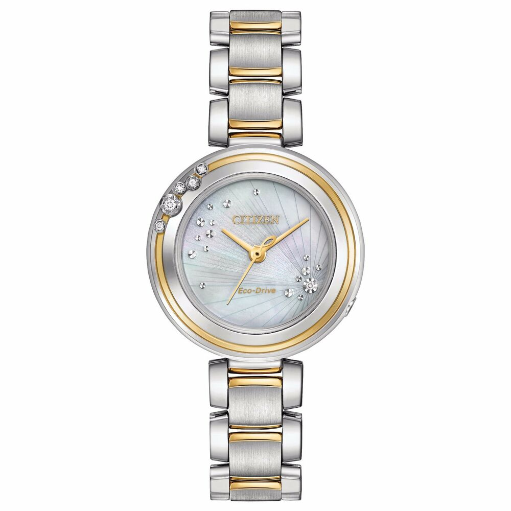 f89db9446ef Details about Citizen Eco-Drive Carina Women s EM0464-59D Diamond Accents  Two-Tone 28mm Watch