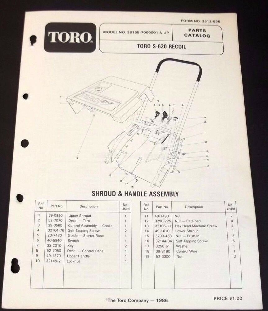 Toro S 620 Recoil Snow Thrower Parts Catalog Manual 38165 Serial 7000001  And Up   eBay