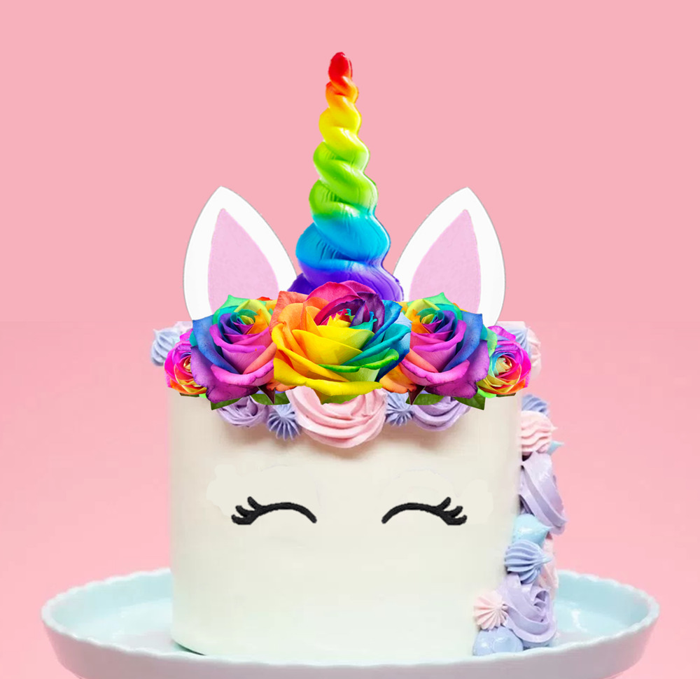rainbow cake topper large unicorn rainbow horn flowers edible cake topper 6945