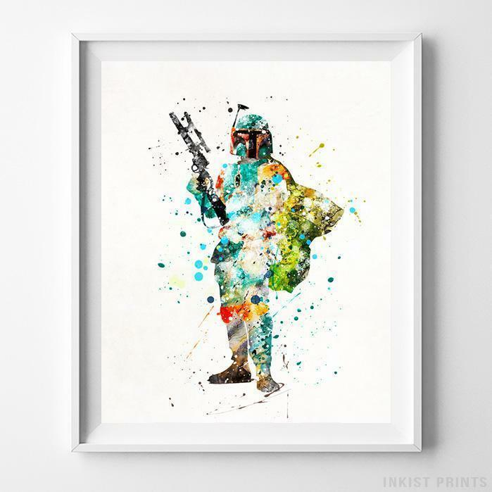 Details About Boba Fett Star Wars Wall Art Watercolor Poster Dorm Wall Art  Kids Room UNFRAMED