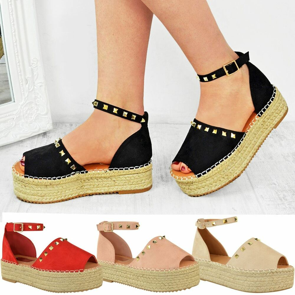 01a5fa2f600 Details about Womens Ladies Flatforms Sandals Studded Embellished Summer Platforms  Shoes Size