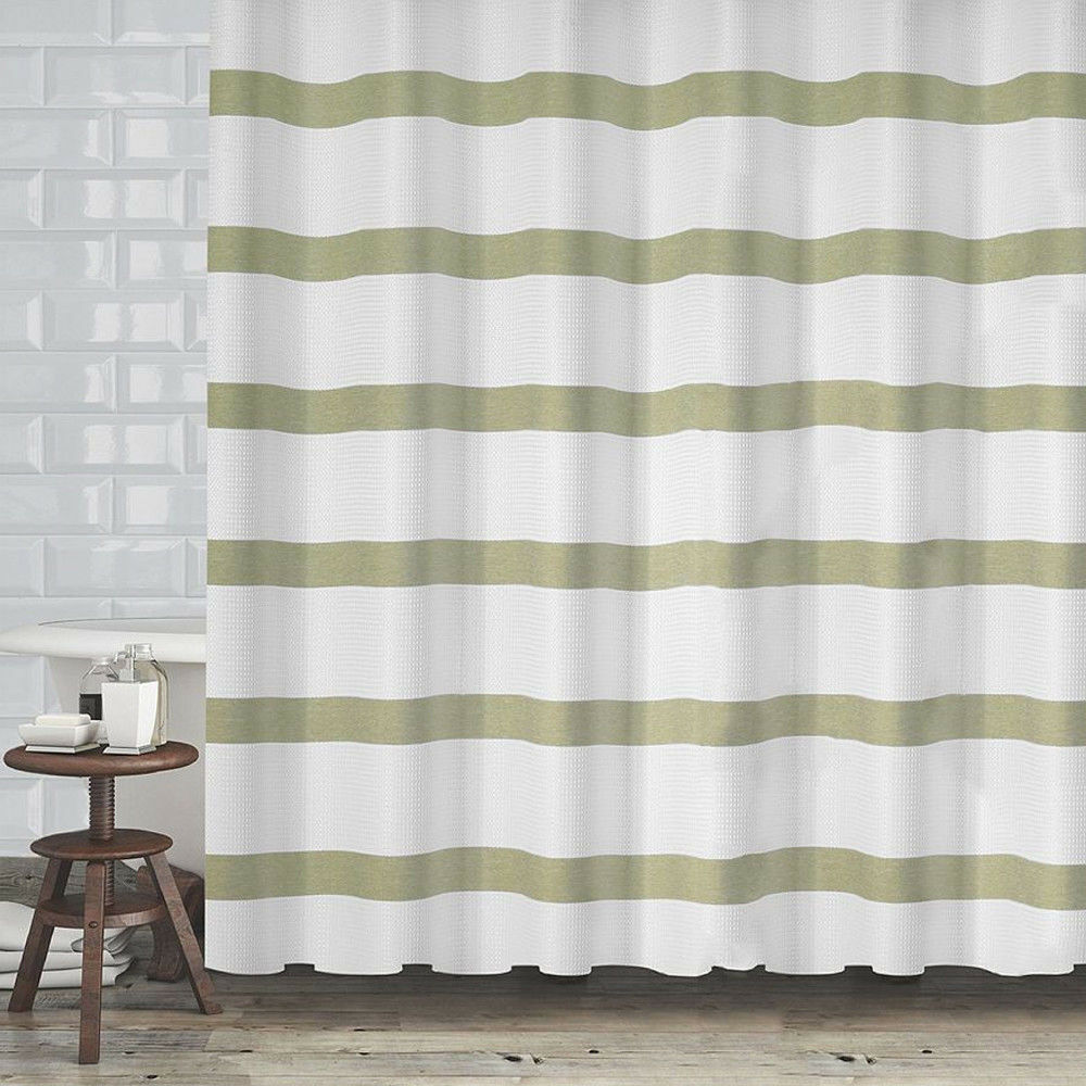 Details About Popular Bath Mulberry Sage Green Stripe White Fabric Shower Curtain 72 Waffle