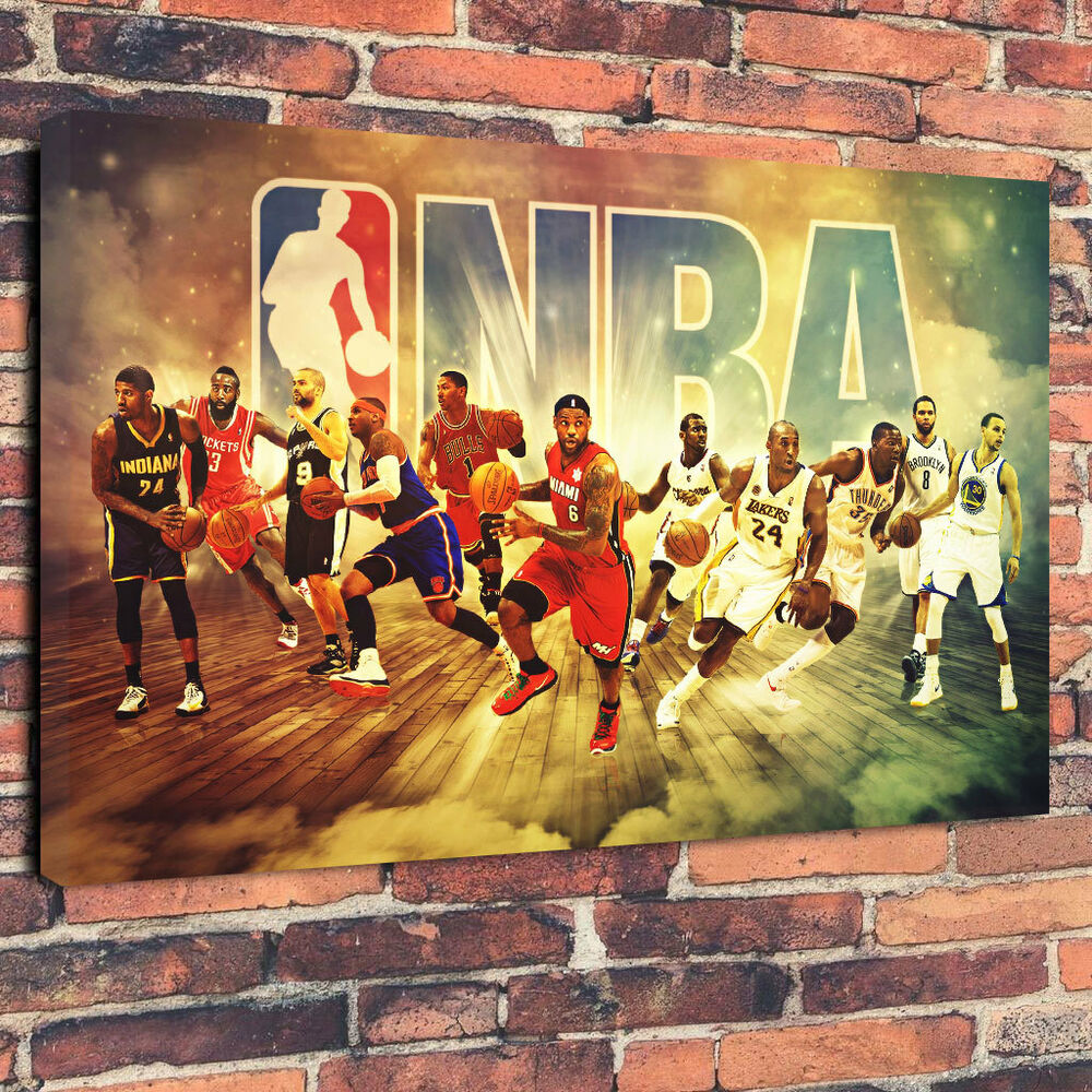 NBA Top Players Basketball Printed Canvas Picture A1.30\