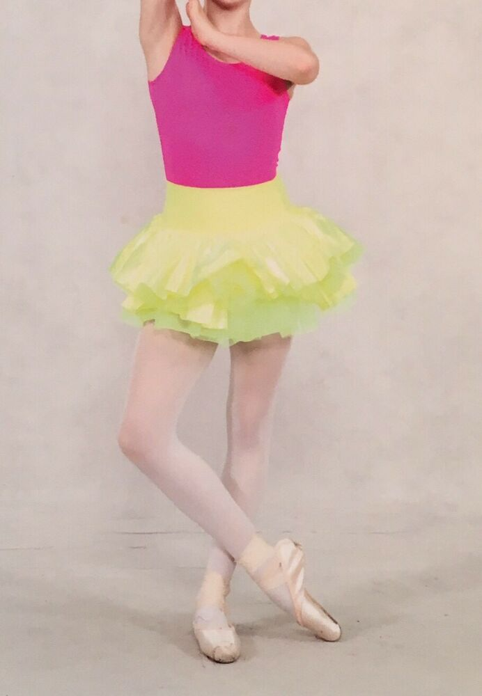 92287ff4af5c Balera 2 Piece Pink Fluorescent Yellow Dance Costume Adult Small ...