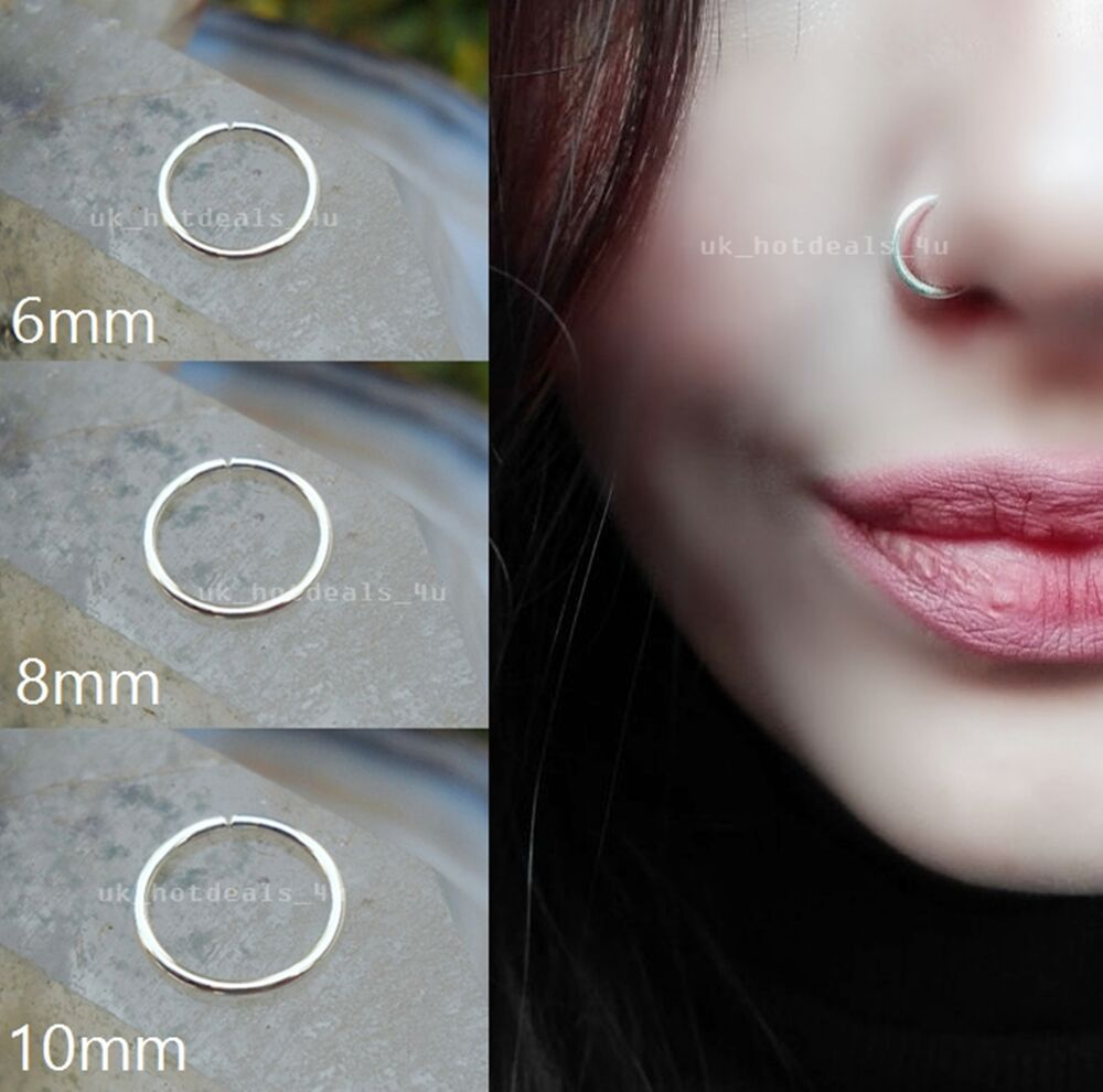 Surgical Steel Thin Small Silver Nose Ring Hoop 0.8mm ...  Surgical Steel ...