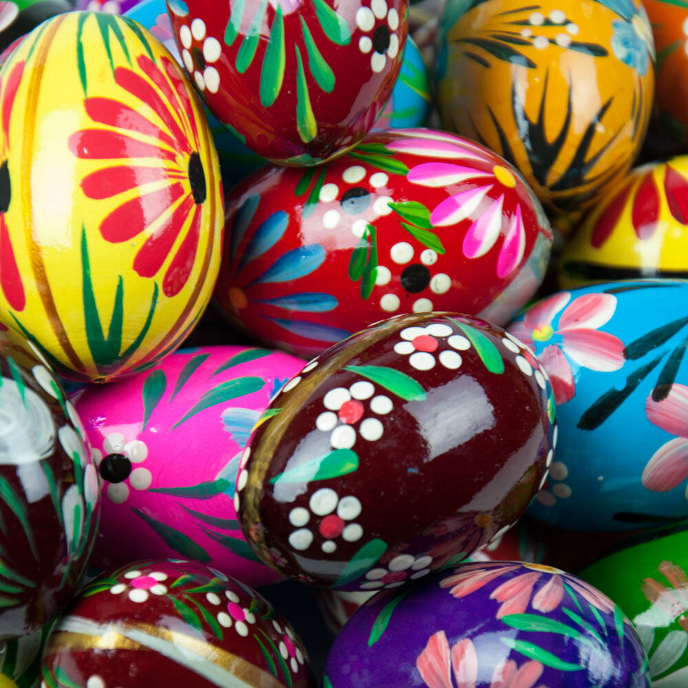 Decorated Easter Eggs: 10 Easter Eggs Pisanki Pysanky Hand Painted Wooden Polish