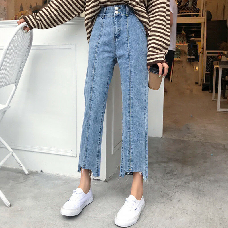 9ab2ced907d Womens High Waisted Skinny stretch ripped jeans. Details about Korean High  Waisted Womens Denim Straight Wide Leg Jeans Vintage Boyfriend Pants