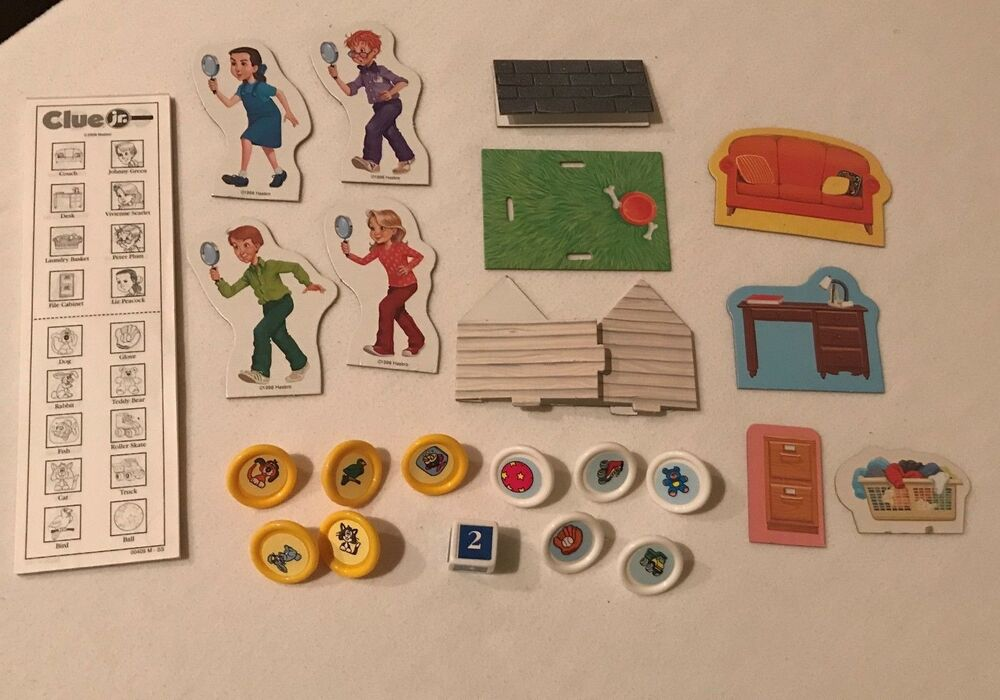 Clue Jr Junior Board Game Replacement Parts Pieces Cardboard Movers