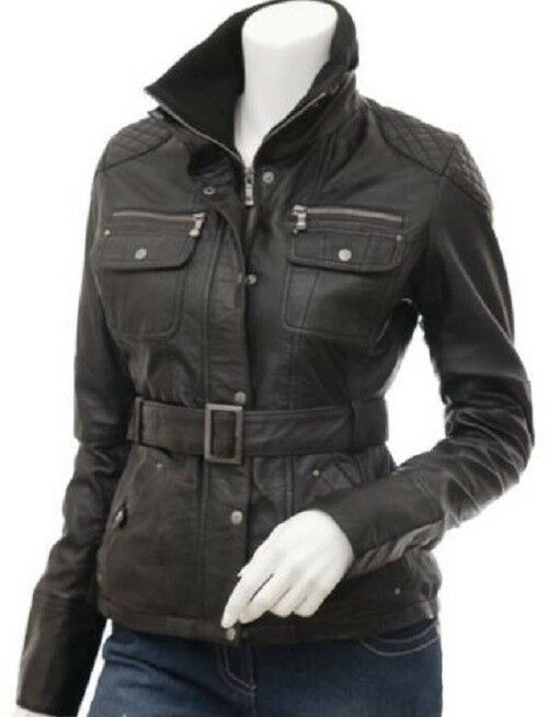 6608cc2996d Details about HOT Women s Genuine Lambskin Real Leather Motorcycle Slim fit  Biker Jacket WNS