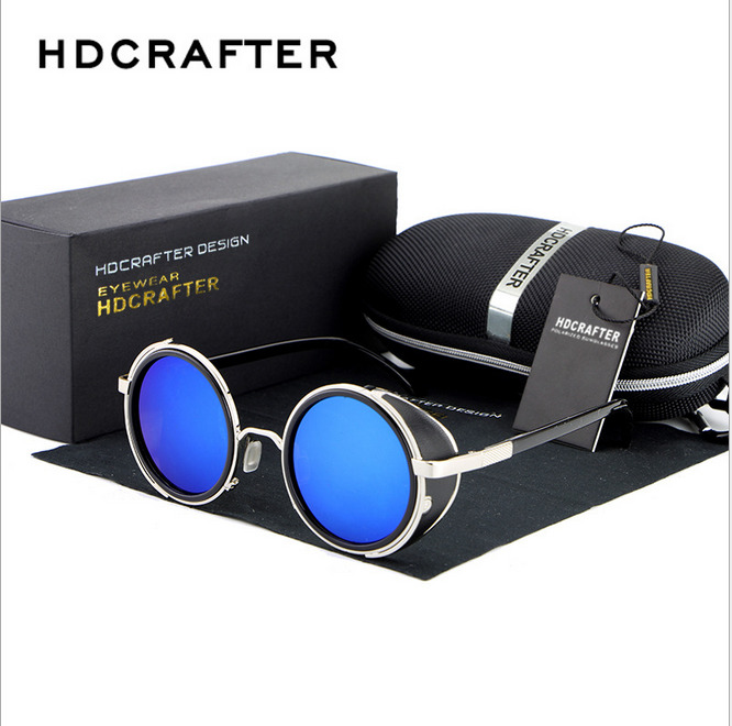 af2c855340 Details about HDCRAFTER Unisex Metal Round Steam Punk Sunglasses Driving  Fishing Retro Eyewear