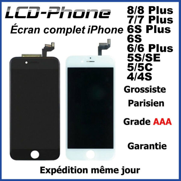 Ecran LCD + Vitre Tactile + Chassis iPhone 8/8Plus/7/7Plus/6S/6/5S/SE/5/4S/4 AAA