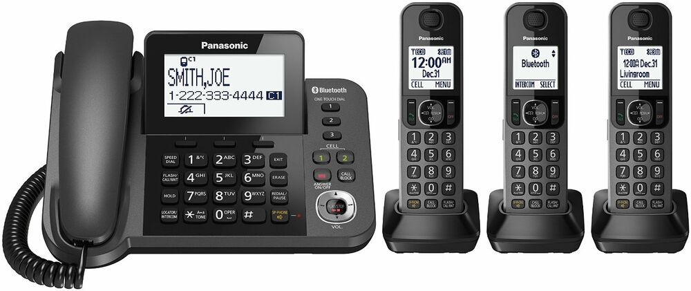 panasonic kx tgf383m link2cell bluetooth corded cordless phone system 3 handsets 885170234314 ebay. Black Bedroom Furniture Sets. Home Design Ideas