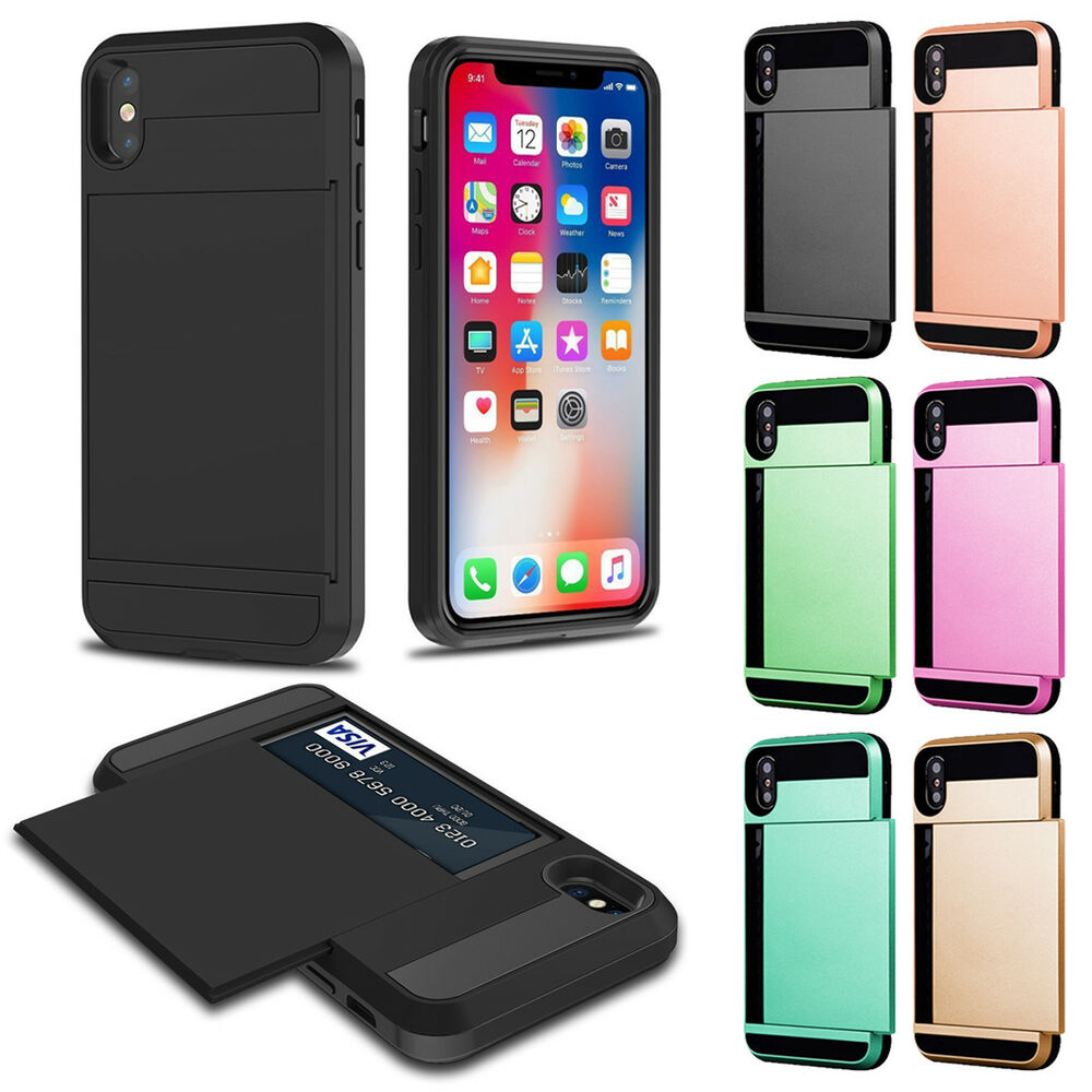 For iPhone X/Xs/Xr/Xs Max Card Wallet Slot Hybrid Shockproof