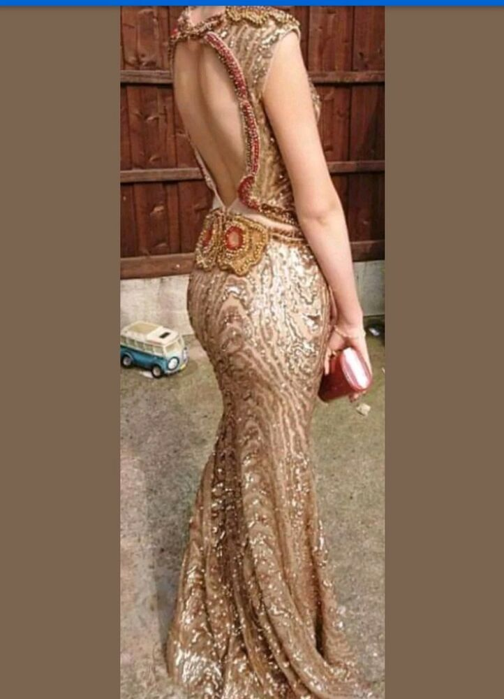 a121f3cd4a Details about stunning Handmade Embellished Prom Dress size 8-10 unique  unusual gold and red