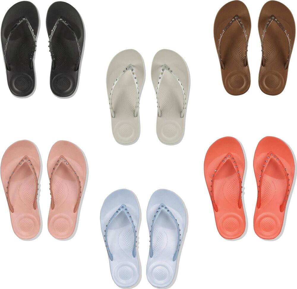 b315a8e8d1f50a Details about FitFlop™ iQUSHION™ Crystal Ladies Womens Ergonomic Toe Post  Thongs Flip Flops