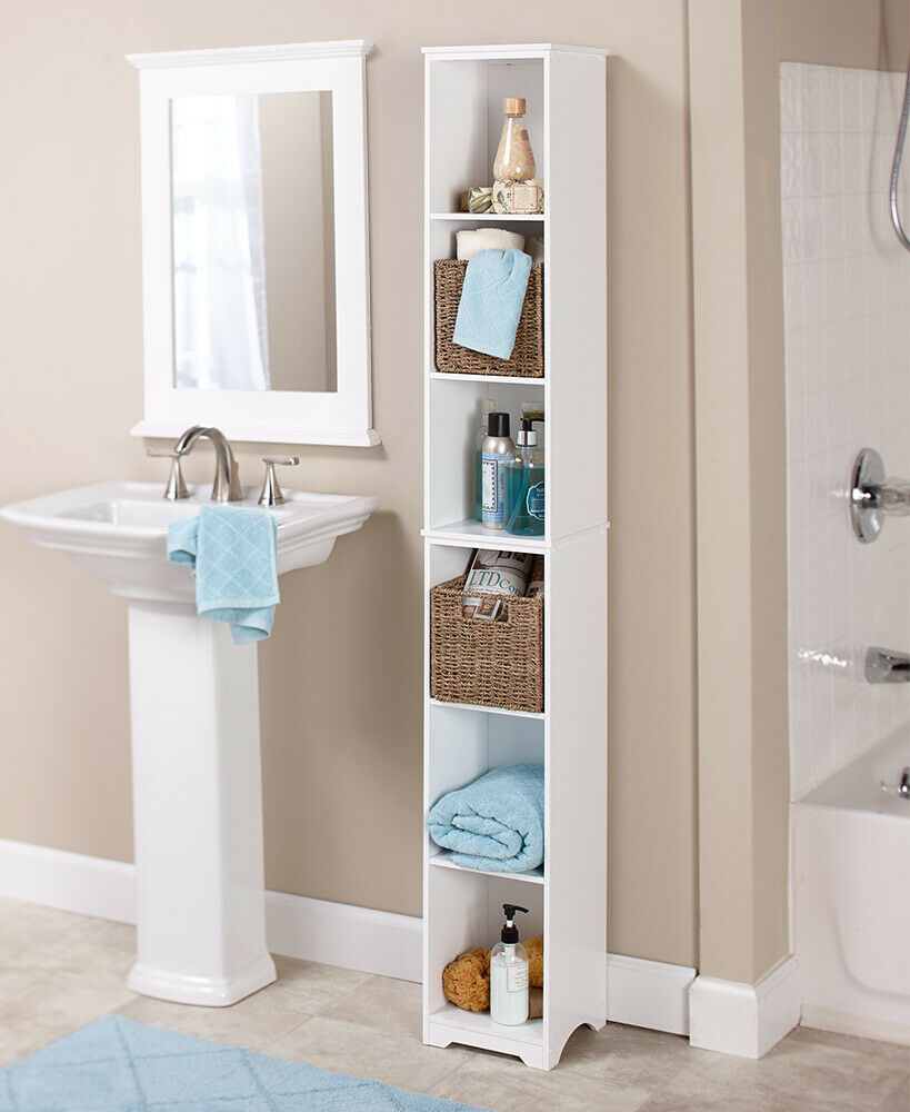 Bathroom Cubby Shelf: Narrow Storage Tower Cabinet Shelf Seagrass Baskets
