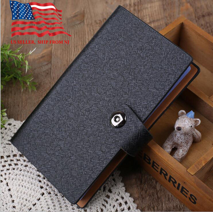 black business card holder book pu leather 240 name cards