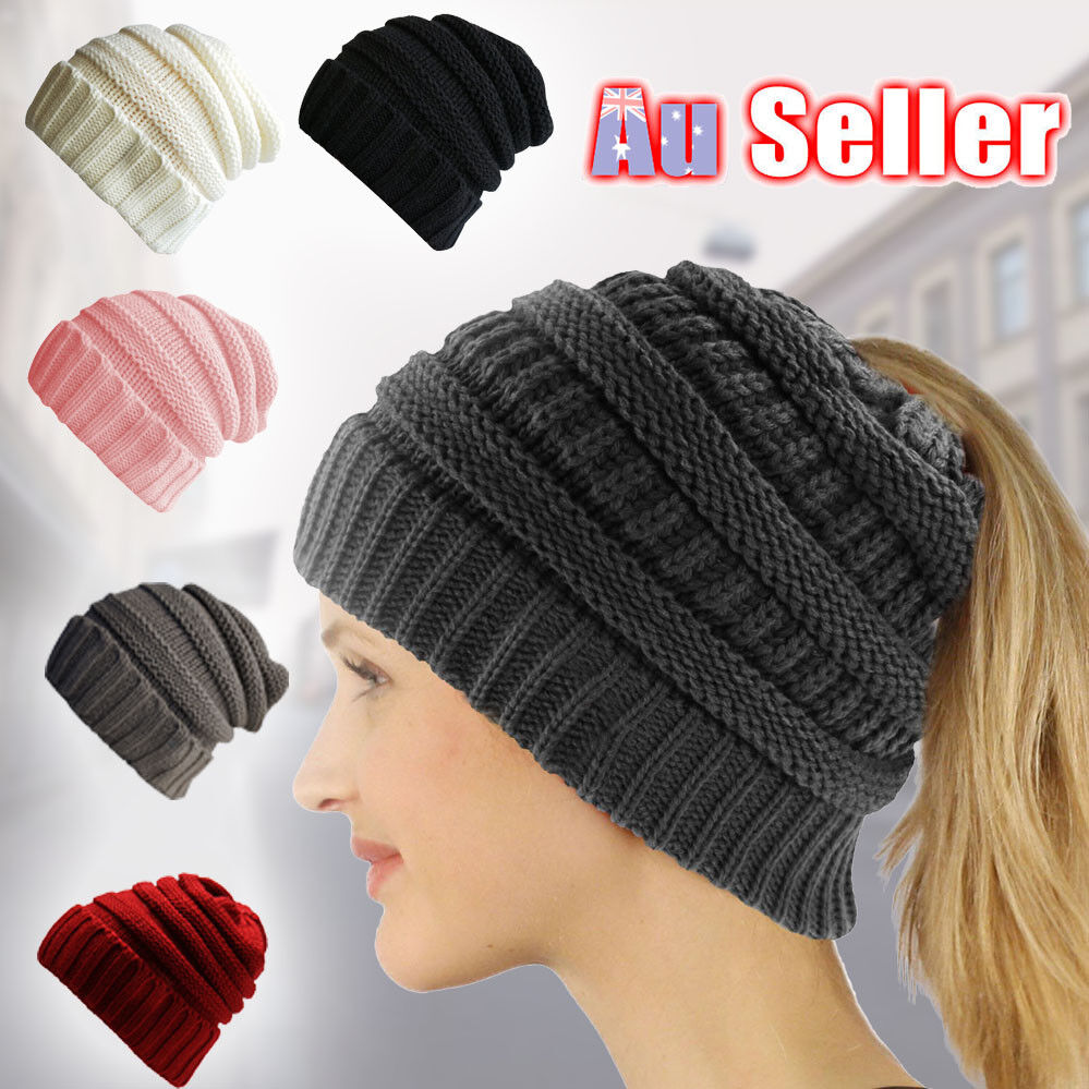 5516a598 Women's Ponytail Beanie Skull Cap Winter Soft Stretch Cable Knit High Bun  Hat