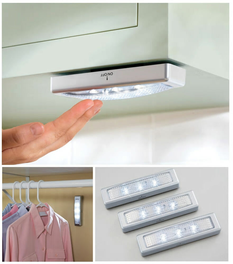 3pcs Led Kitchen Under Cabinet Lights Counter Wardrobe