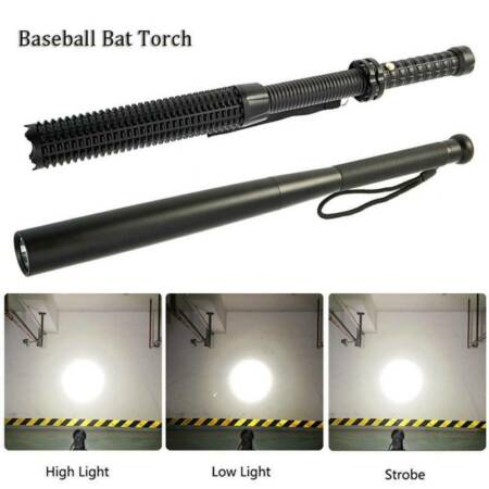 img-Black Baseball Bat LED Flashlight Q5 Cree Waterproof Security Super Bright Torch