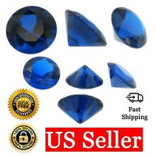 Loose Round Cut Shape Sapphire CZ Stone Single Blue Cubic Zirconia Birthstone