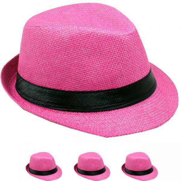 26f66b74549f85 Details about KIDS PANAMA TRILBY FEDORA HAT STRAW KID GIRL BOY PINK HAT
