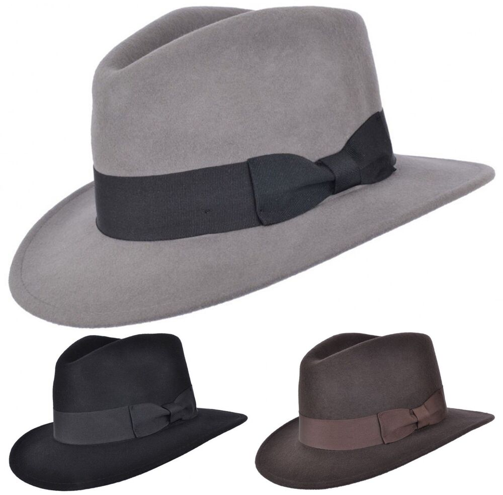 a1ff5aa50a0d0 Mens or Womens 100% Wool Fedora Hat with Grosgrain Band Trilby Panama Type  Hats