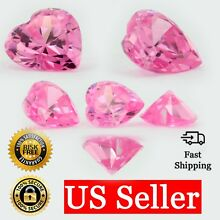 Loose Heart Shape Cut Pink Sapphire CZ Stone Single Cubic Zirconia Birthstone